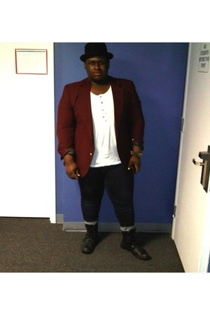 bowler hat H&M hat - black Bed Stu boots - Gap jeans - burgundy thrift blazer