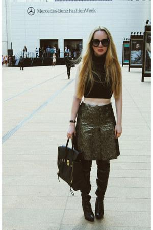 gold Tibi skirt - black American Apparel shirt - black 31 Phillip Lim bag
