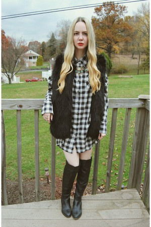 black shoemint boots - white windsor dress - black Sheinside vest