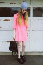 black gifted OASAP shoes - hot pink H&M dress - black vintage bag