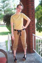 gold Pringle of Scotland sweater - brown hollister pants - black Jeffrey Campbel