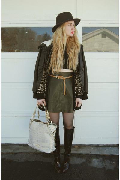 dark brown Forever 21 coat - crimson Pour La Victoire boots