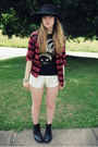 Black-doc-martens-boots-black-vintage-hat-ruby-red-flannel-thrifted-shirt-