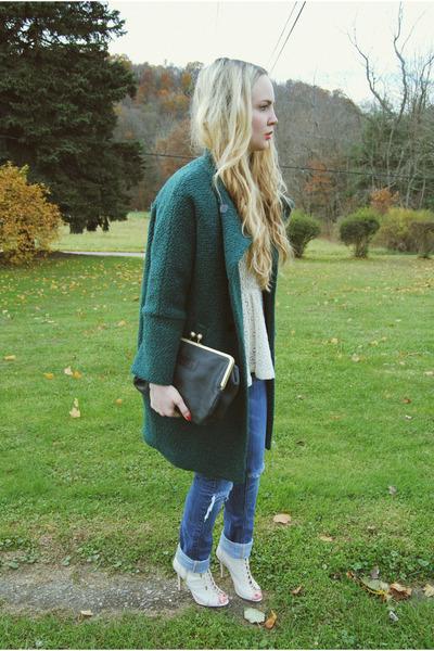 ivory Steve Madden heels - forest green Sheinside coat