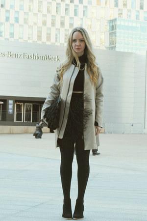 black asos boots - silver asos coat - black pink tartan skirt