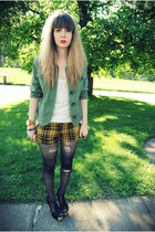 black foxy Jeffrey Campbell shoes - forest green From Moms closet jacket - musta