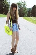Urban Outfitters boots - c-o The Leather Satchel Co bag - cut-offs Levis shorts