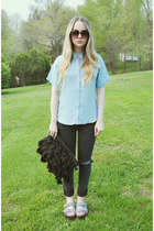 black Dbrand jeans - sky blue Marine Layer shirt - black asos bag