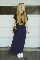 white Keds shoes - navy Forever 21 skirt - black gifted dimepiece t-shirt