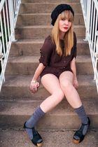 brown Forever 21 shorts - black Jeffrey Campbell shoes - black H&M hat