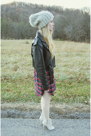 black vintage jacket - ruby red windsor dress - beige Urban Outfitters hat