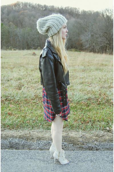 black vintage jacket - ruby red windsor dress - beige Urban Outfitters hat