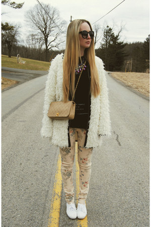 white Miss KL coat - peach gypsy warrior jeans - black lulus shirt