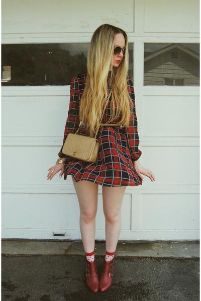 brick red Jeffrey Campbell boots - brick red 6ks dress - camel Chanel bag