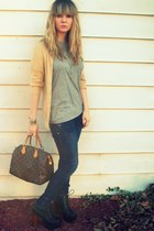 heather gray Target t-shirt - nude Express cardigan - navy hollister jeans - bla