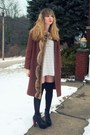 Dark-brown-nasty-gal-jacket-white-h-m-dress-black-american-apparel-socks-b