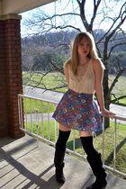 white H&M shirt - blue Forever 21 skirt - black American Apparel socks - black M
