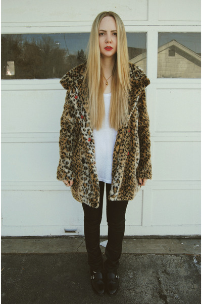 white Urban Outfitters shirt - brown white crow coat