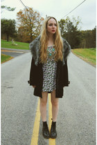 black doc martens boots - black Motel Rocks dress - black Boohoo coat
