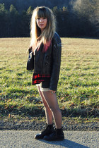 dark gray diy studs Forever 21 jacket - black doc martens boots