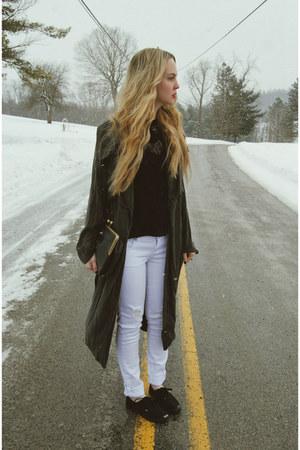 black Tillys shirt - navy minimarket coat - white Tillys jeans