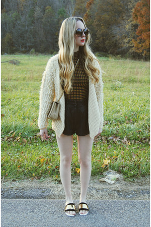 black vintage shorts - cream Koshka sweater - mustard Boohoo shirt
