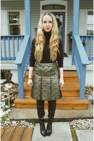 mustard Tibi skirt - black Forever 21 boots - black vintage shirt