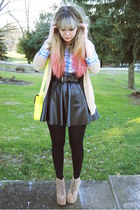 black faux leather Forever 21 skirt - beige Jeffrey Campbell shoes