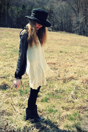 black sam edelman boots - cream Wet Seal dress - black vintage hat - black sheer