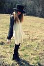 Black-sam-edelman-boots-cream-wet-seal-dress-black-vintage-hat-black-sheer