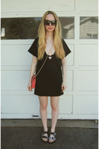 black Missguided dress - coral Lulus bag - black Steve Madden sandals