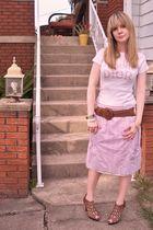 white dior t-shirt - purple Charlotte Russe skirt - brown via tobicom shoes - br