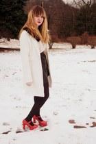 black vintage shorts - eggshell Forever 21 blouse - ivory Wet Seal jacket - red