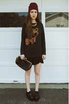 dark gray Forever 21 sweater - black gifted OASAP shoes