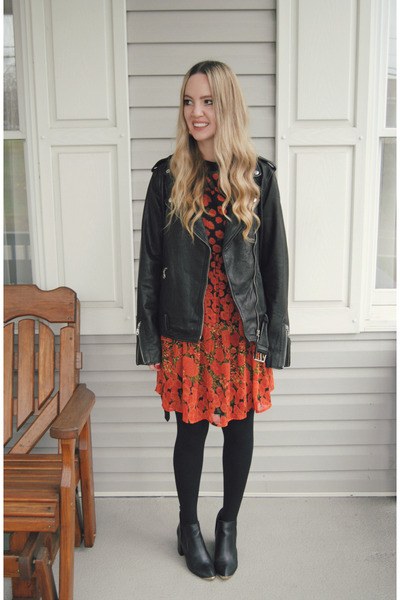 black Urban Outfitters boots - ruby red asos dress - black Lucky Brand jacket