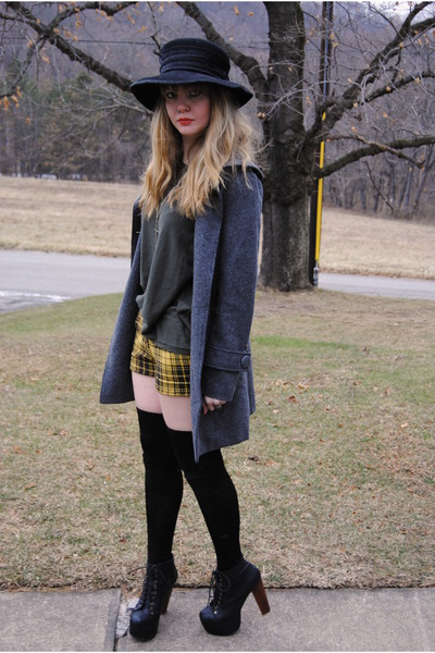 black litas Jeffrey Campbell shoes - black vintage hat - gray modcloth jacket -