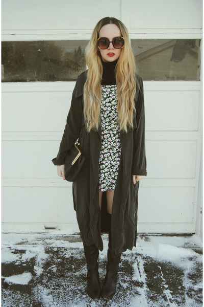 black shoemint boots - white Motel Rocks dress - dark gray minimarket coat