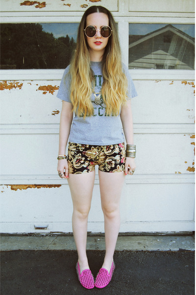 navy gifted She Inside shorts - hot pink UNIF flats