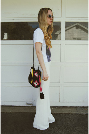 white Missguided pants - black Zara bag - white dimepiece t-shirt