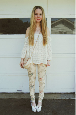 cream gifted gypsy warrior jeans - white Jeffrey Campbell shoes