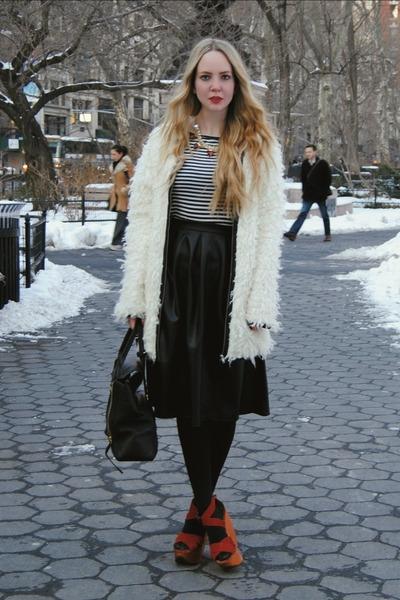 white Miss KL coat - black 31 Phillip Lim bag - black Boohoo skirt
