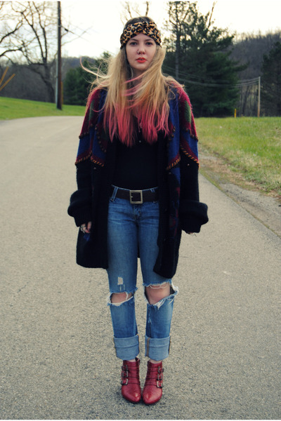 ruby red Jeffrey Campbell boots - black gifted GiGi Vintage sweater