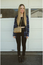 black Kill City jeans - black Missguided shirt - beige Chanel bag