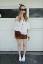 bronze Tobi shorts - white Converse shoes - brick red Rebecca Minkoff bag