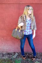 blue Forever 21 shirt - brown Forever 21 jacket - blue hollister jeans - brown L