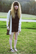 army green Fossil bag - cream Macys cardigan - black Payless sandals - purple Ur