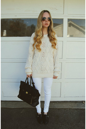 black shoemint shoes - white necessary clothing jeans - cream vintage sweater