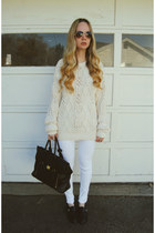 cream vintage sweater - black shoemint shoes - white necessary clothing jeans