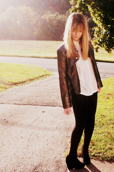 dark gray Forever 21 jacket - eggshell H&M blouse - black asos tights - black Th