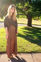 green Forever 21 shirt - brown Forever 21 skirt - beige Steve Madden shoes - bla